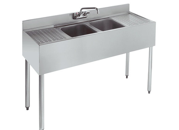 """48"""" TWO COMPARTMENT BAR SINK - 12"""" DRAINBOARDS ON"""
