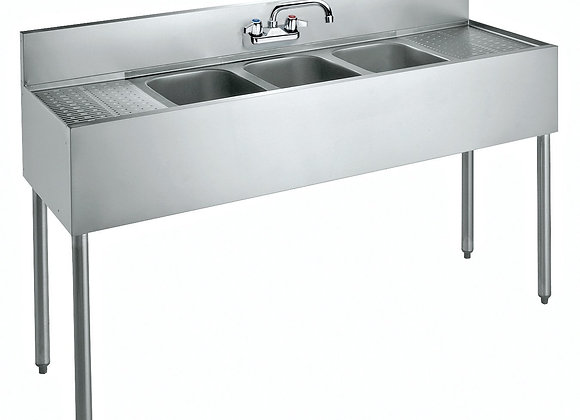 "60"" 3 compartment bar sink -drainboar left/ right"