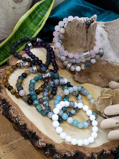 Bracelets perles argentées