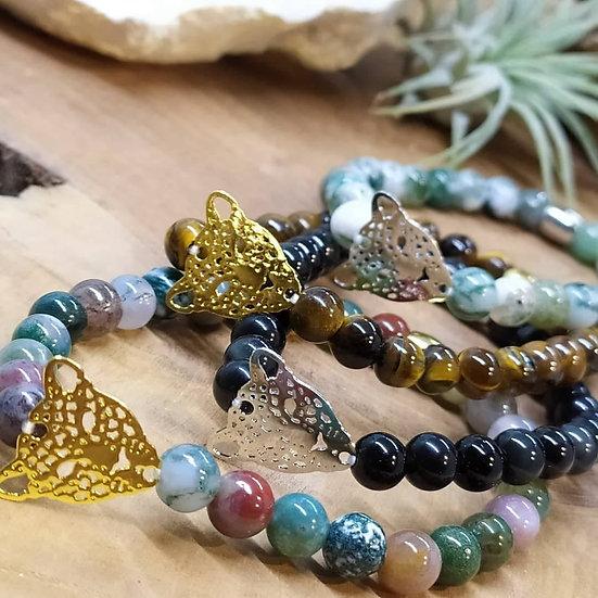 Bracelets tête Léopard