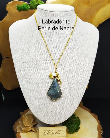 Sautoir Labradorite et Nacre