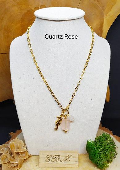 Collier long Quartz Rose