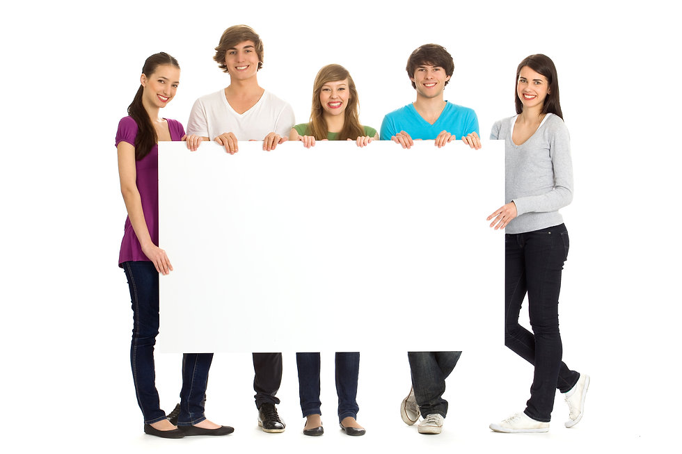 Group of young friends holding a blank b