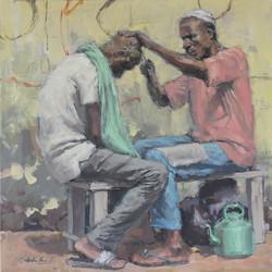 Le barbier traditionnel / Huile sur toile