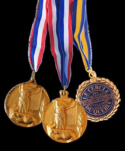 Les médailles d'or recompenses du travail de Francine Lepage, Artiste peintre du Québec