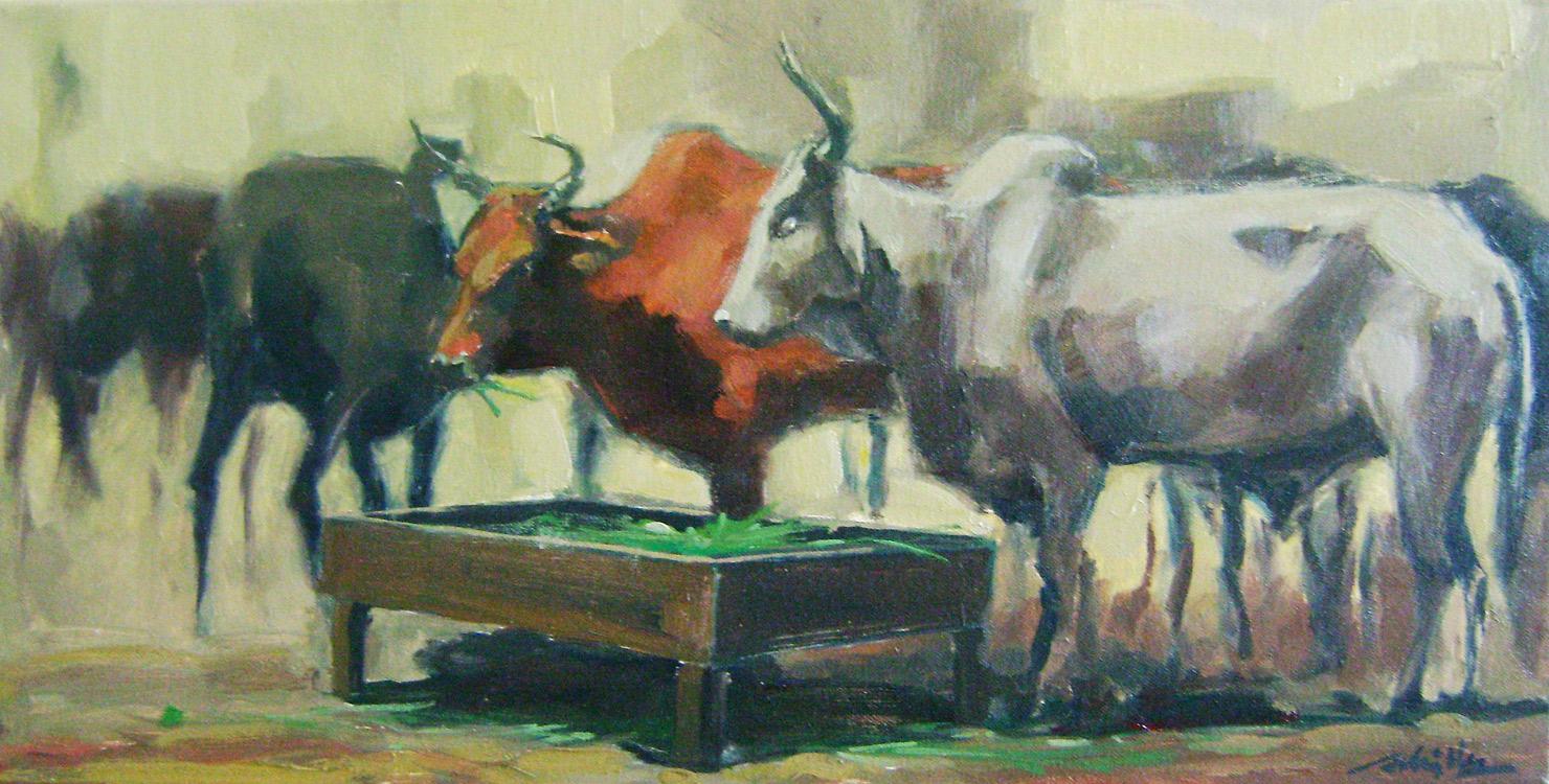 Le troupeau / 61x31cm / Huile