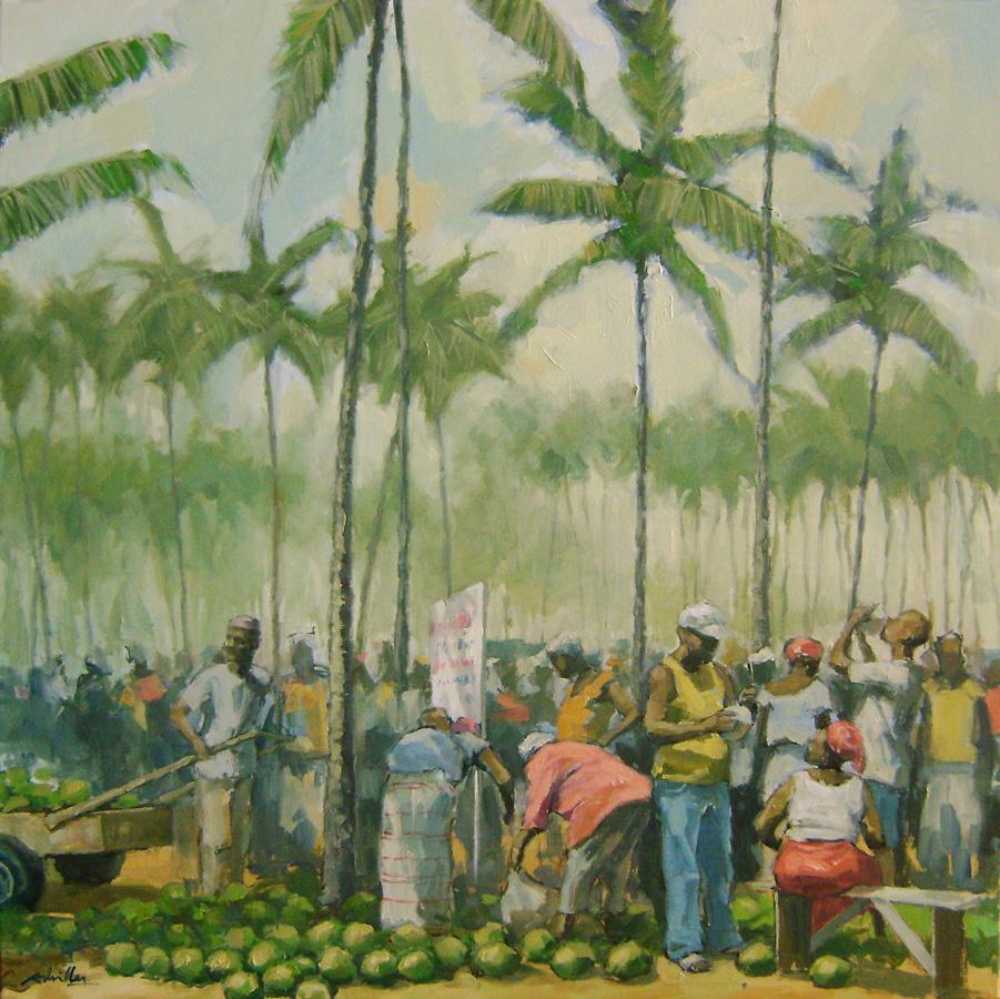 Marché aux cocos 2 / 76x76cm /Huile