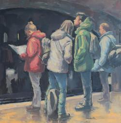 """À la station / 30x30"""" / Huile"""