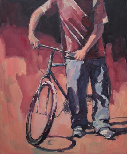 Du vélo / 61x76cm  / Huile