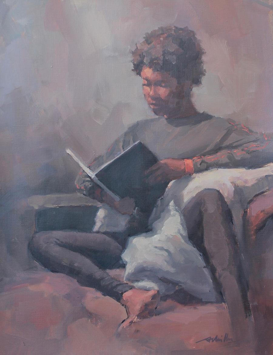 Lecture sur le canapé / Huile sur papier
