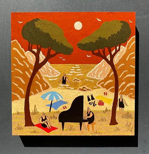 Lionel BORLA - Crique au ciel rouge
