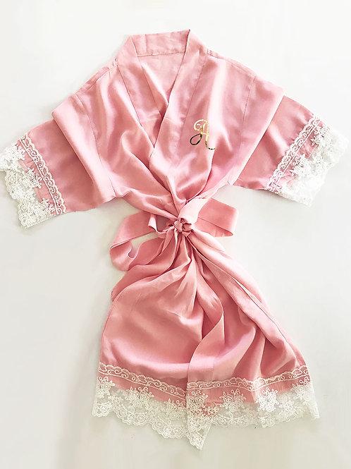 Cotton Lace Monogram Child Robes