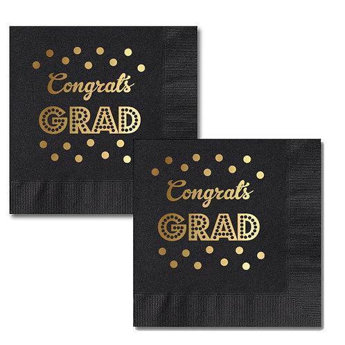 Metallic Gold & Black Graduation Napkins (set of 25)
