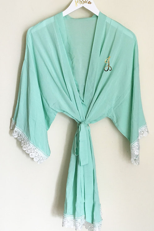 Monogram Cotton Lace Robes
