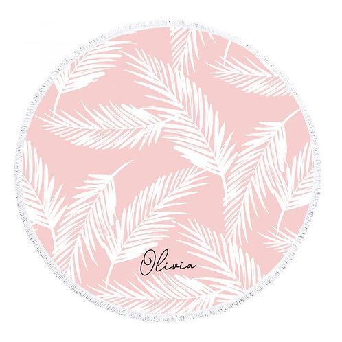 Personalized Tropical Pink Round Towel