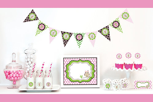 Pink Owl Decorations Starter Kit