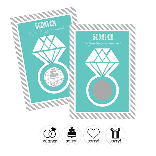 Wedding Ring Scratch Off Game Cards - Aqua
