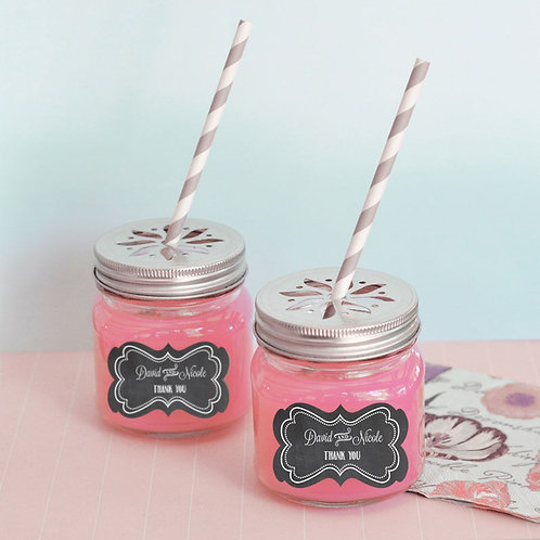 Chalkboard Wedding Personalized Mason Jar Drinking Glasses with Flower Cut Lids