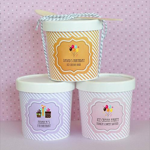 Personalized Birthday Mini Ice Cream Containers