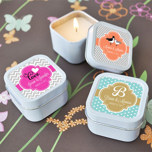 Wedding Square Candle Tins
