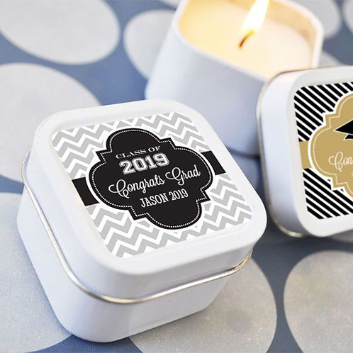Personalized Graduation Square Candle Tins