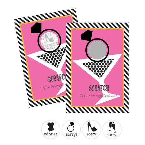 Bachelorette Party Scratch Off Game Cards