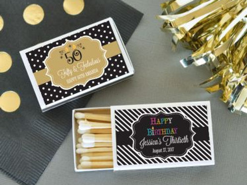 Personalized Birthday Match Boxes (set of 50)