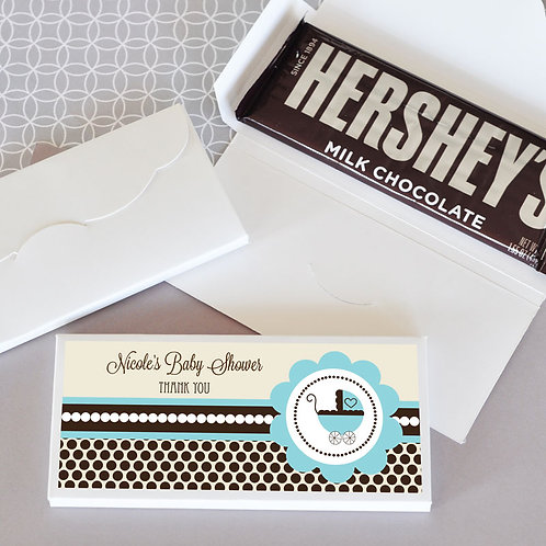 Personalized Blue Baby Shower Candy Wrapper Covers