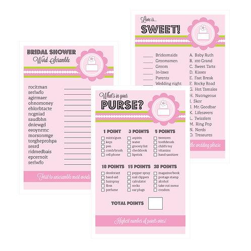 Bridal Shower Games (Set of 10) - Pink Cake