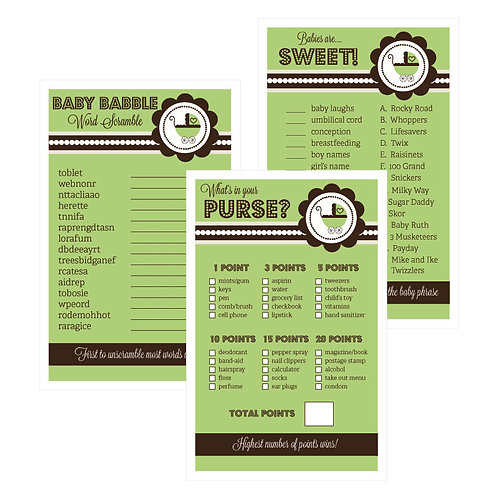 Baby Shower Games (Set of 10) - Green Baby Shower