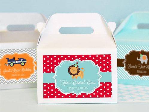 Personalized MOD Kid's Birthday Mini Gable Boxes (set of 12)