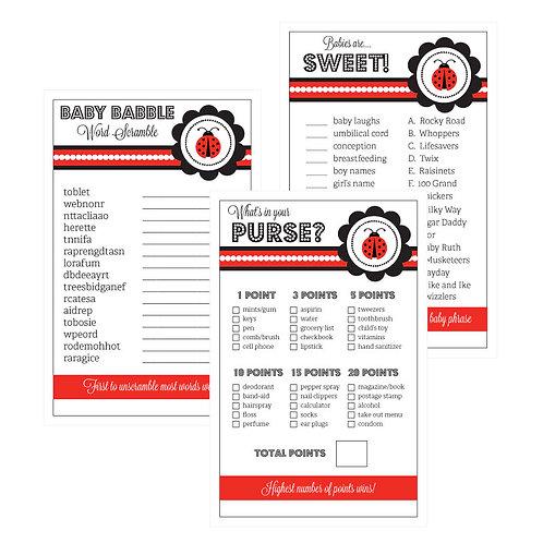Baby Shower Games (Set of 10) - Ladybug