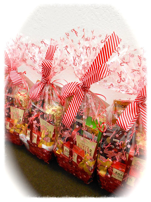 Holiday wrapped baskets