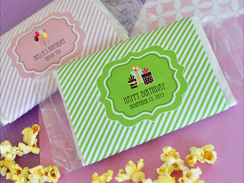 Personalized Birthday Microwave Popcorn Bags