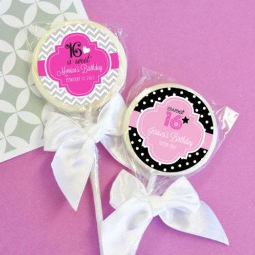 Sweet Sixteen (or 15) Personalized Lollipop Favors