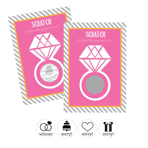Wedding Ring Scratch Off Game Cards - Pink