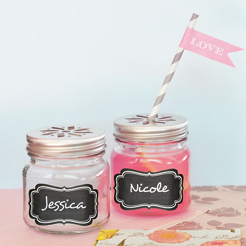 Mason Drinking Jars with Vinyl Chalkboard Labels