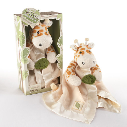 """Jakka the Giraffe"" Plush Rattle with Crinkle Leaf"