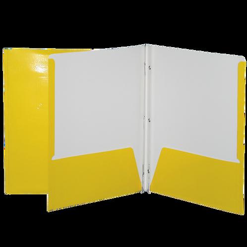 Reliure à 3 attaches avec pochettes (jaune)