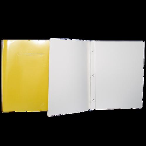 Reliure à 3 attaches de type «Duo-Tang» jaune