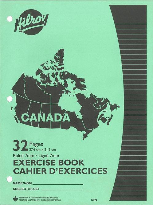 Cahier d'exercices ligné (8½ x 11) vert