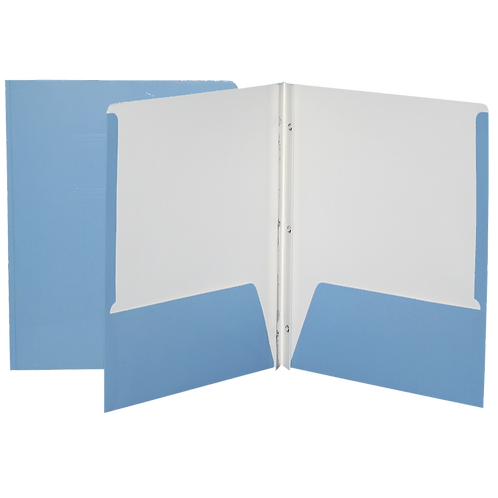 Reliure à 3 attaches laminée-pochette (bleu pâle)