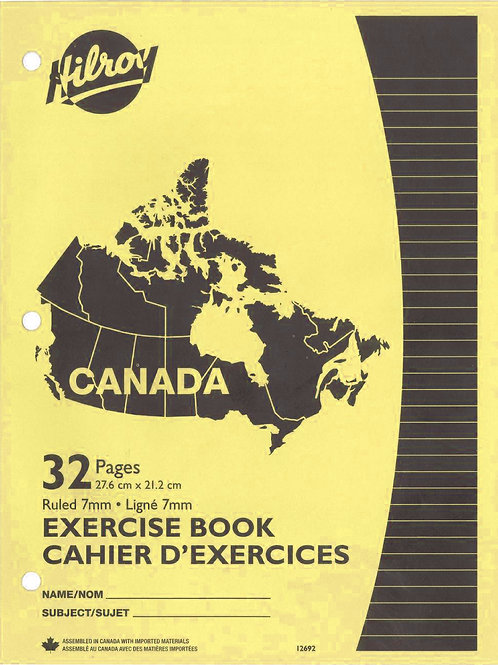 Cahiers d'exercices ligné (8½ x 11) jaune
