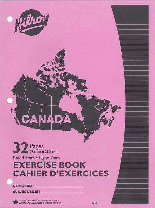 Cahier d'exercices ligné (8½ x 11) rose