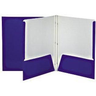 Reliure à 3 attaches laminée avec pochettes (bleu)
