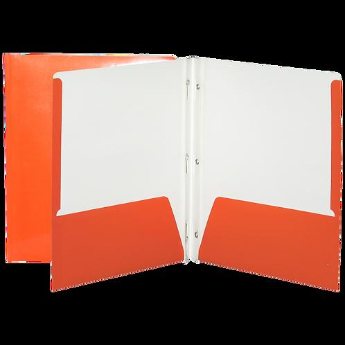 Reliure à 3 attaches laminée avec pochette-orange