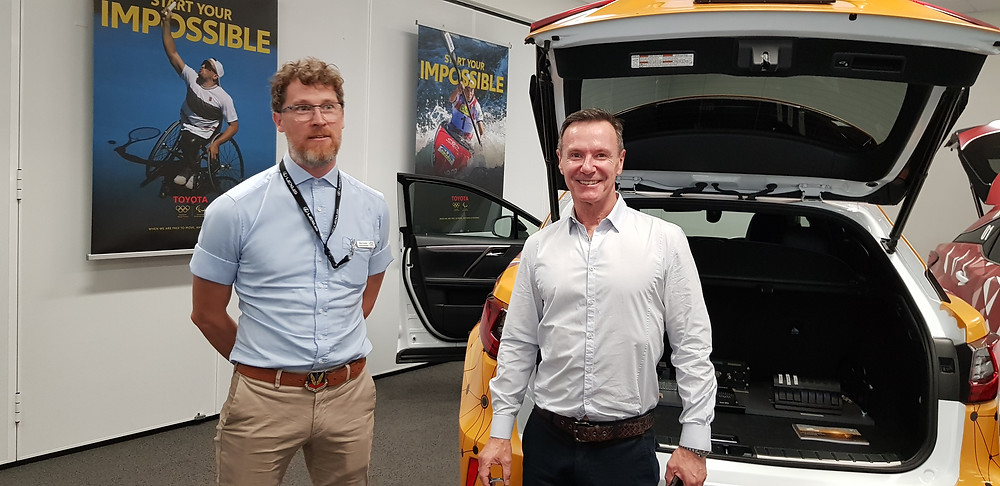 Richard Blackman FBBF President receives a briefing on connected vehicle technology