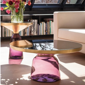 Table basse verre rose - Decorexpat