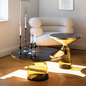 Table basse verre jaune - Decorexpat
