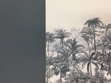 Le chic du bleu gris peinture et papier peint